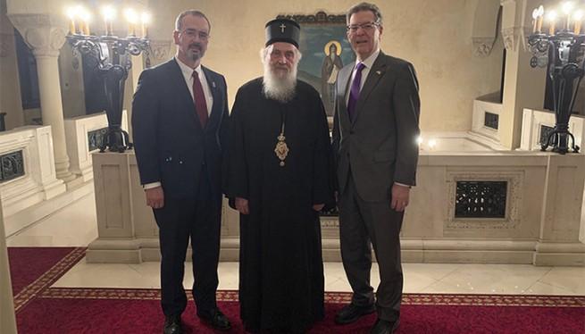 Встреча Патриарха Сербского Иринея с представителем Госдепа США и послом Америки в Сербии. Фото: spc.rs